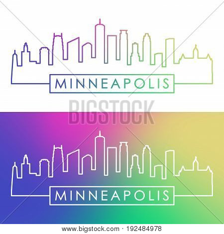 Minneapolis skyline. Colorful linear style. Editable vector file.