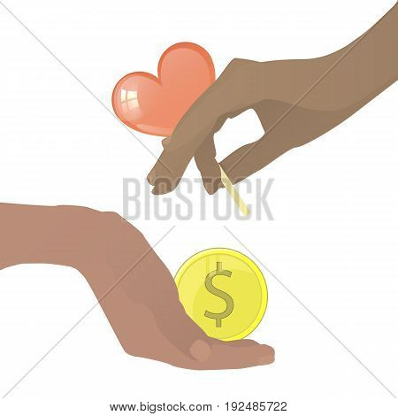 Prostitution Concept. Hand With Caramel