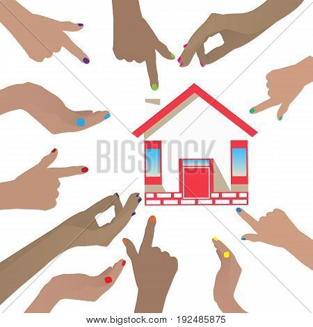 Share In The Construction Concept. The Hands