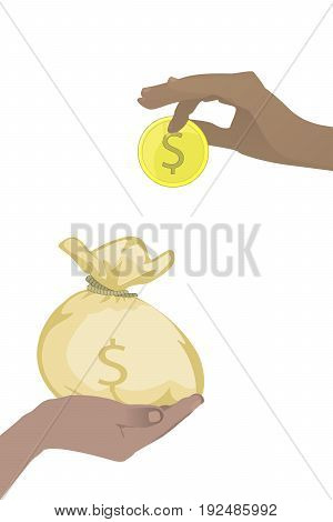 Bank Savings Concept. Contribution. Hands