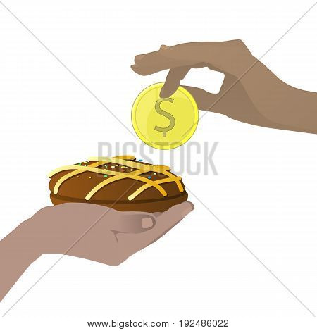Buy Concept. Buffet. Tasty And Sweet. Hands