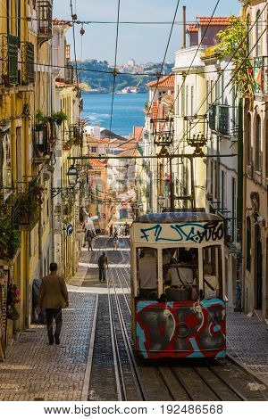 Lisbon, Portugal - May 17, 2017: Typical Old Tram In Lisbon, Portugal