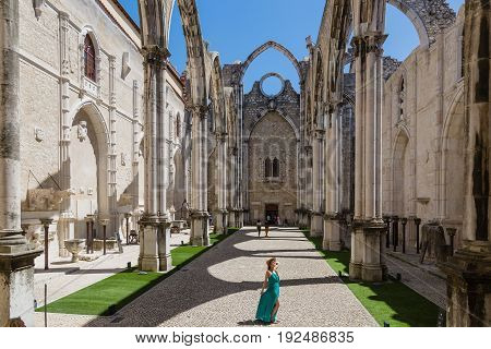 Lisbon, Portugal - May 17, 2017: Carmo Convent In Lisbon