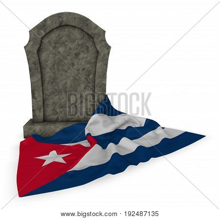 gravestone and flag of cuba - 3d rendering