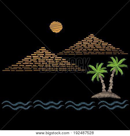 Pyramids and palm tree with wave embroidery stitches imitation on black background. Embroidery vector illustration with pyramids. Vector isolated palm embroidery illustration.