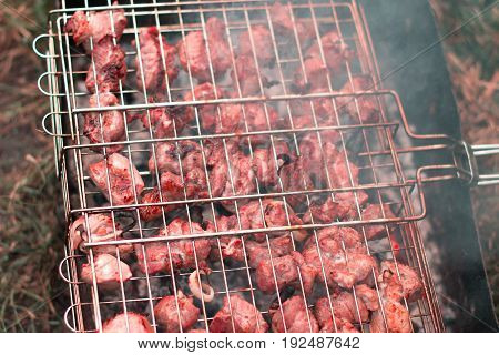 Barbecue cooking in the forest on a blurred background