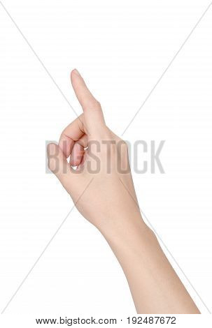 Beautiful Asian woman or female's right hand pointing finger upward isolated on white background (clipping path included)