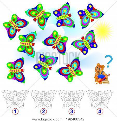 Logic puzzle. Count the number of identical butterflies. Paint them in corresponding colors. Vector cartoon image.