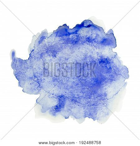 Color blue splash watercolor hand painted isolated on white background artistic decoration or background