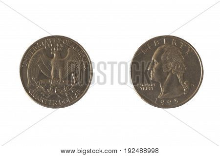Coin USA 25 cents with the image of George Washington and bald eagles. A quarter of a dollar. Copper plated copper-Nickel 1995
