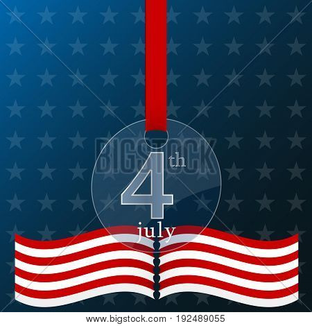 Fourth of july independence day of the usa poster.Realistic glass medal.Vector illustration