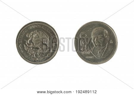 Mexican coin 50 pesos with the image of Benito Juarez - political activist and head of government in 1858 -1861 years father and Builder of modern Mexico. Stainless steel 1990.