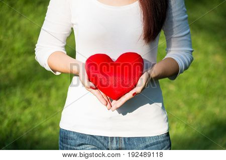 Beautiful hands of asian woman holding red soft heart pillow to show her love in Valentines day concept in green garden on sunny day selective focus
