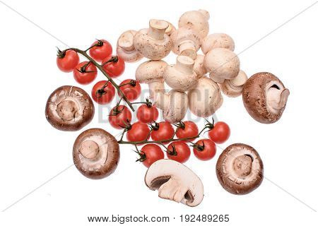 Mushrooms Champignons And Red Cherry Tomatoes Isolated On White Background
