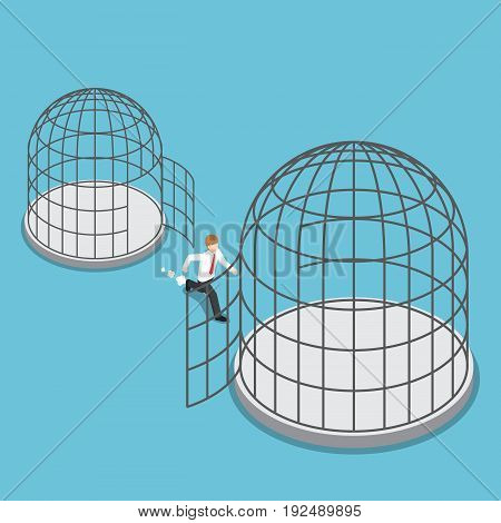 Isometric Businessman Leave Small Cage Go To The Bigger Cage.
