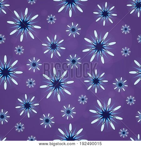 Seamless texture. Abstract pattern with lilac figures. Abstract lilac flowers. Taxtile pattern.
