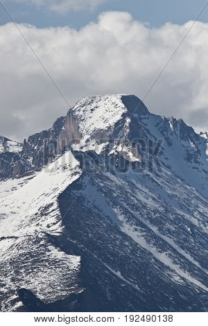 Close up view of the summit of Longs Peak in Estes Park Colorado