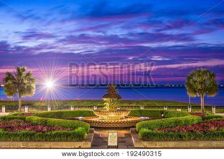 Charleston, South Carolina, USA at the Waterfront Park Pineapple Fountain.