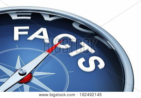 3D rendering of a compass with the word facts