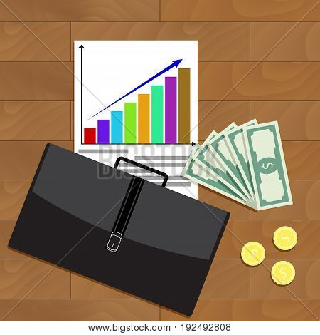 Financial business growth top view vector. Growth financial and planning illustration financial financial graph investment