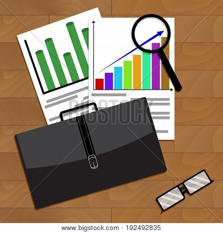 Analysis of economic growth in business. Vector economics development illustration of economic recovery and downturn