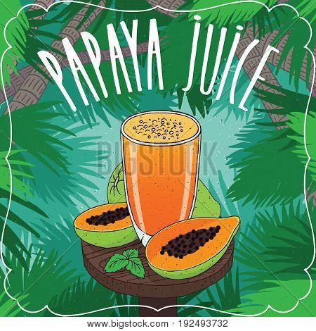 Fresh Papaya Juice In Glass With Ripe Fruits
