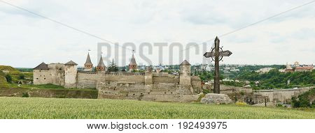 Bastions of ancient castle. Panorama of medieval fortress in Kamenets-Podilsky Ukraine.