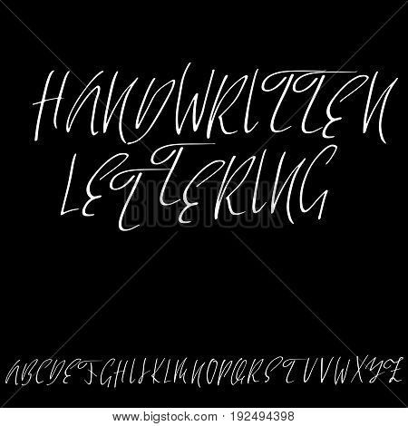 Hand drawn elegant calligraphy font. Modern brush lettering. Grunge style alphabet. Vector illustration