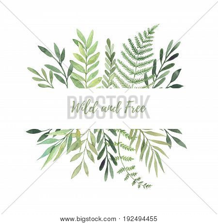 Hand Drawn Watercolor Illustration. Botanical Label With Green Leaves, Branches And Herbs. Floral De