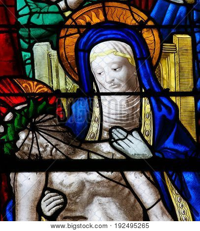 Stained Glass In Rouen Cathedral - Jesus And Mary