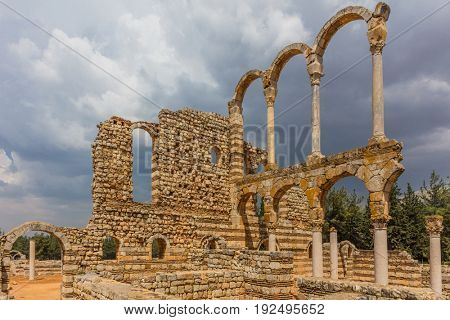 Ruins of the Umayyad Aanjar Anjar in Beeka valley Lebanon Middle east