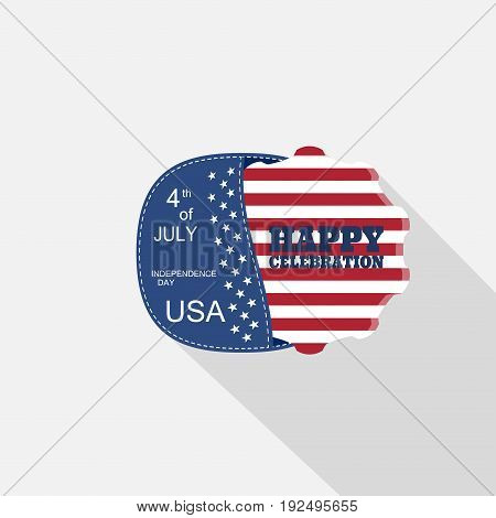 Vector flat web element for Independence Day with blue pocket insert with american flag and long shadow on the light gray background.
