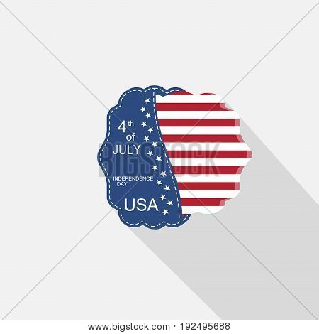 Vector flat web element for Happy celebration of Independence Day with blue pocket insert with american flag and long shadow on the light gray background.