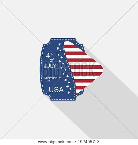 Vector flat web element for Happy celebration of Independence Day with blue pocket square insert with american flag and long shadow on the light gray background.