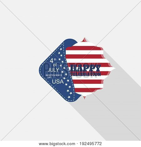 Vector flat label for Happy celebration of Independence Day with blue pocket insert square with american flag and long shadow on the light gray background.