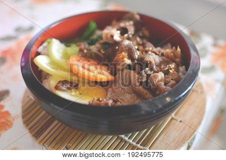 Beef steak Japanese food in a bowl