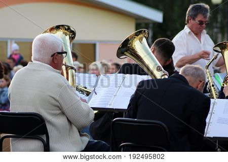 Izhevsk Russia. 23 June 2017. Musicians are playing on trombones outdoors