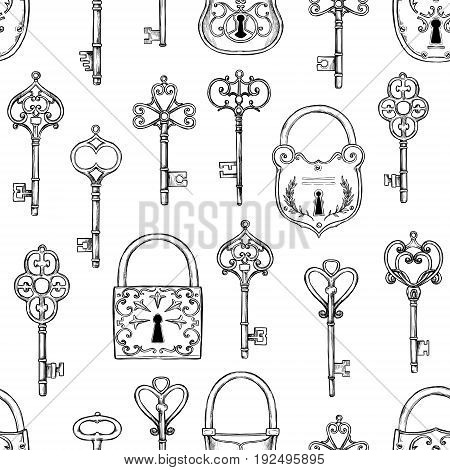 Hand Sketched Vector Illustration - Seamless Pattern With Vintage Keys And Locks. Design Elements Wi