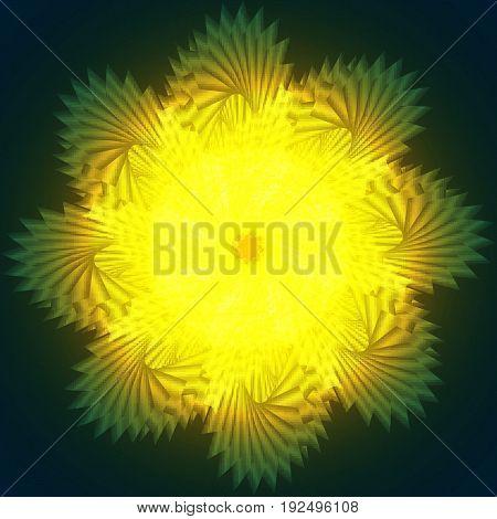 Swirl yellow luminous light flowers on green background