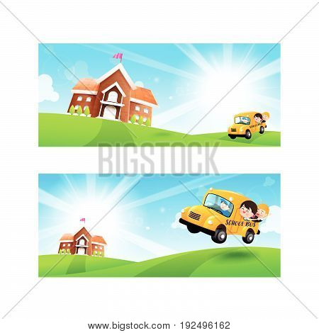 Back to School concept Blank banner template Student kids on school bus with happiness and cheerful with Nature Blue sky sunburst copy space and greenfield Background vector illustration