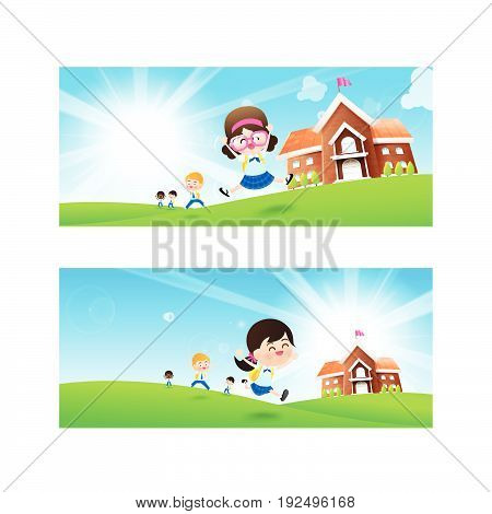 Back to School concept Blank banner template Student kids jumping and running with happiness and cheerful with Nature Blue sky sunburst copy space and greenfield Background vector illustration