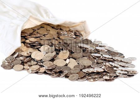 Bag with silver coins isolated on white background.