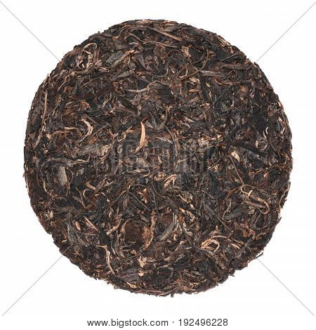 Pu'er puerh puer fermented chinese ripe cake black tea isolated on white background.