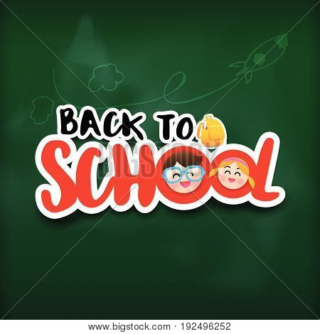 Calligraphy title back to school sticker style with shadow over green black board vector illustration