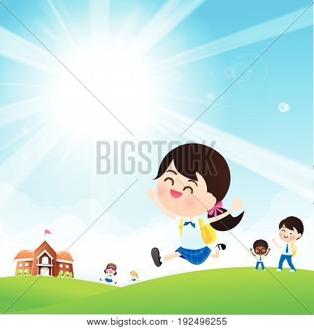 Back to School concept Student kids jumping and running with happiness and cheerful with Nature Blue sky sunburst copy space and greenfield Background vector illustration