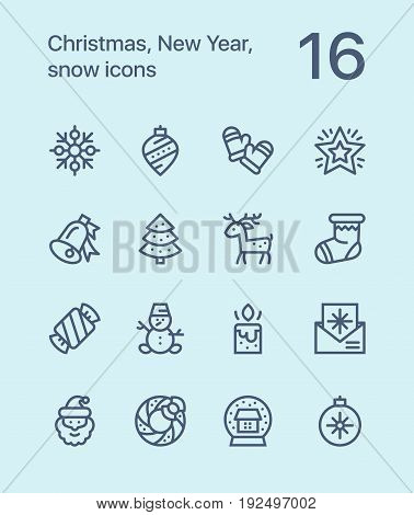 Outline Merry Christmas and Happy New Year icons for web and mobile design pack 3