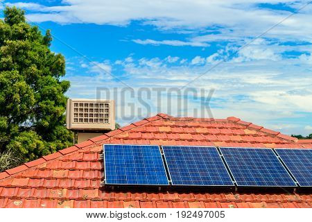 Solar panels installed on the house roof in one of the Melbourne suburbs Victoria Australia