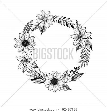Hand Drawn Vector Illustration. Laurel Wreath With Black Flowers, Leaves And Branches. Perfect For W