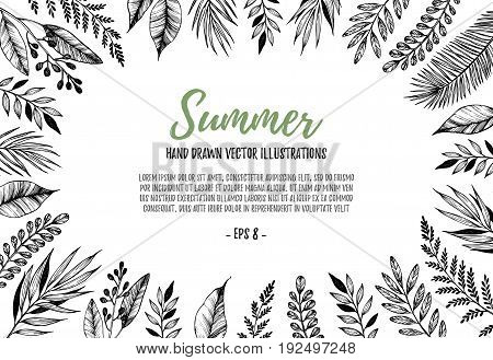 Hand Drawn Vector Illustration. Rectangular Frame With Leaves And Branches. Perfect For Wedding Invi