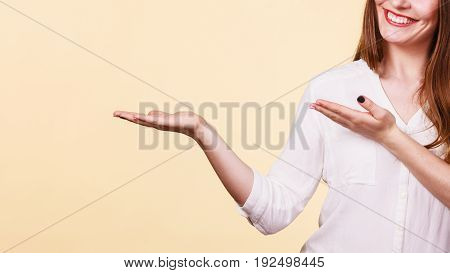 Woman Holds Empty Hand Copy Space For Product